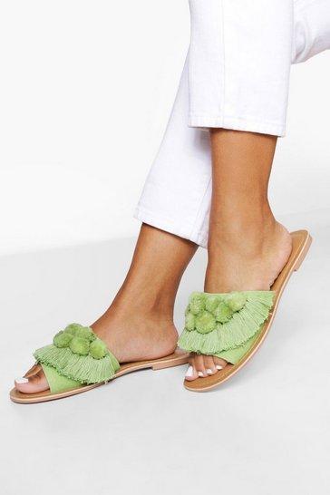 Sage green Pom Pom Frill Leather Sliders
