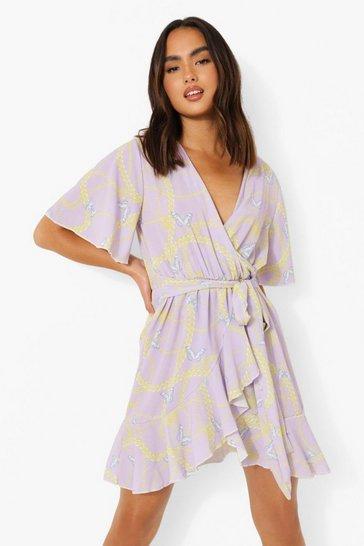 Lilac purple Woven Butterfly Chain Print Tea Dress