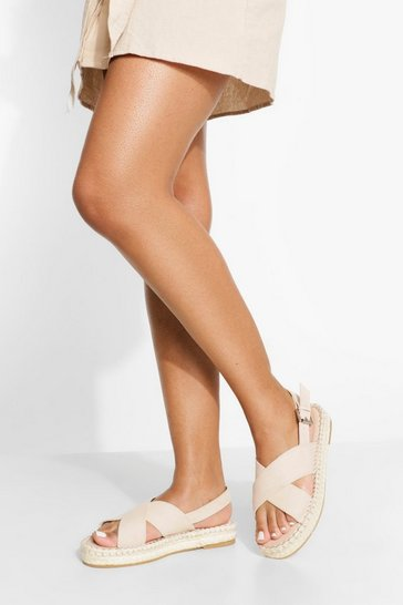 Nude Wide Fit Chunky Cross Over Espadrille