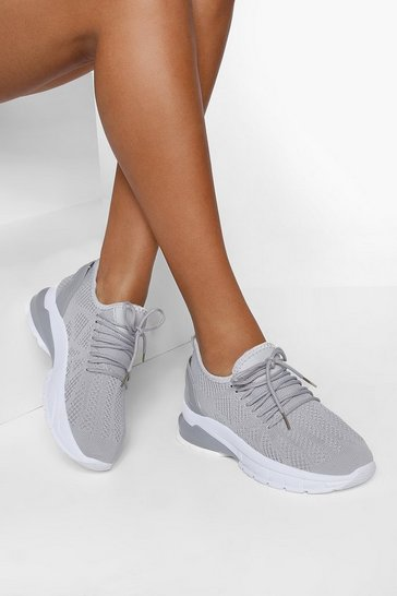 Grey Wide Fit Bubble Sole Knitted Sports Trainers