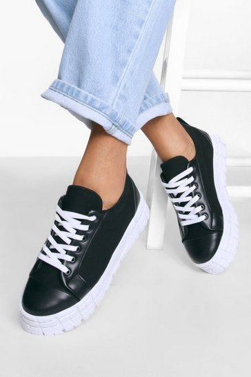 Black Cleated Sole Canvas Flat Trainers