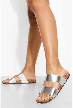 Silver Wide Fit Metallic Double Strap Footbed
