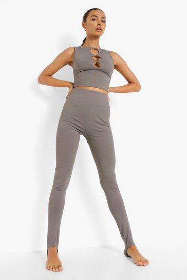 Grey Yoga Stirrup Leggings With Peached Finish