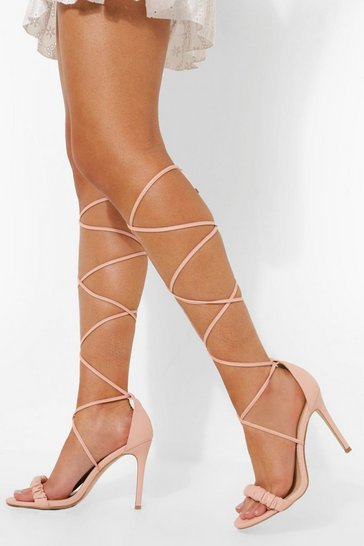 Nude Ruched Wrap Up Sandal