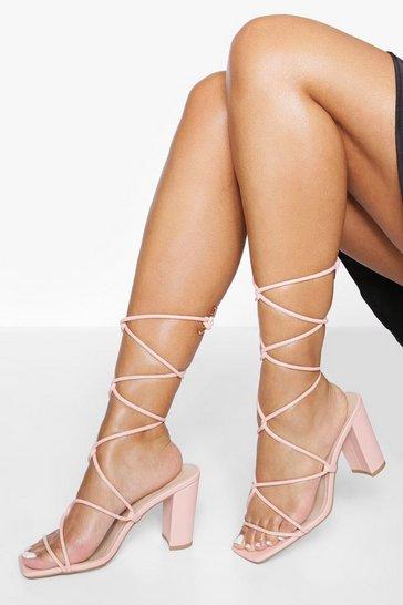 Pink Block Heel Strappy Sandal