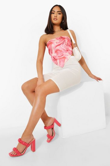 Coral pink Double Strap Ruched Mule