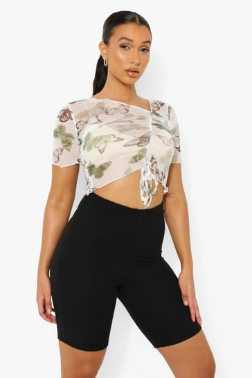 Sage green Butterfly Mesh Ruched Front Top