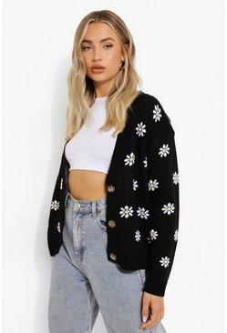 Black Floral Print Crop Cardigan