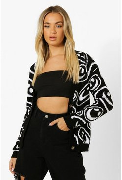 Black Micro Smiley Print Cropped Cardigan