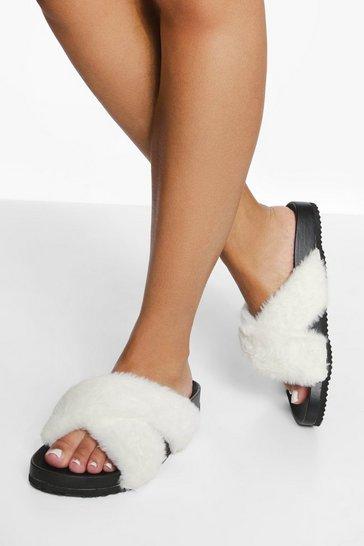Cream white Wide Fit Crossover Fur Slider