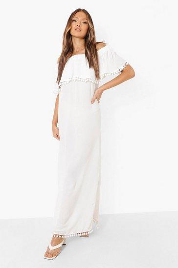 White Bardot Pom Pom Maxi Dress