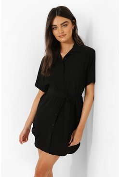 Belted Short Sleeve Shirt Dress, Black Чёрный