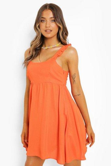 Orange Ruffle Strappy Smock Dress
