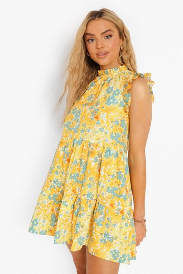 Yellow Floral Print Ruffle Tiered Smock Dress