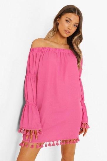 Pink Bardot Long Tiered Sleeve Tassel Shift Dress