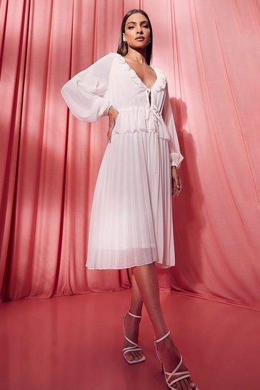 White Pleated Long Sleeve Ruffle Midi Smock Dress