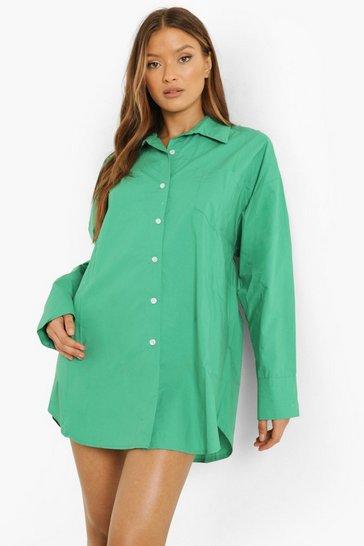 Green Cotton Oversized Shirt Dress