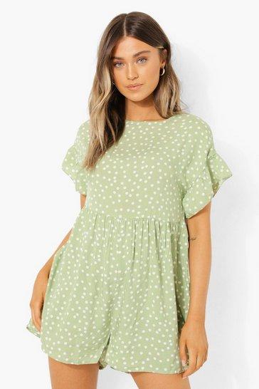 Lime green Polka Dot Tiered Smock Playsuit
