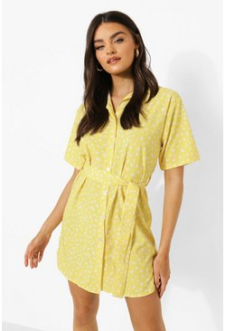 Yellow Spot Print Tie Waist Shirt Dress