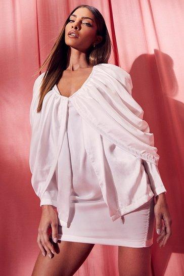 White Draped Batwing Mini Dress