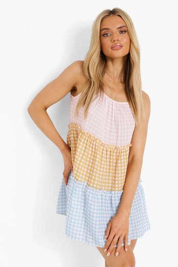 Multi Mixed Gingham Print Strappy Swing Dress