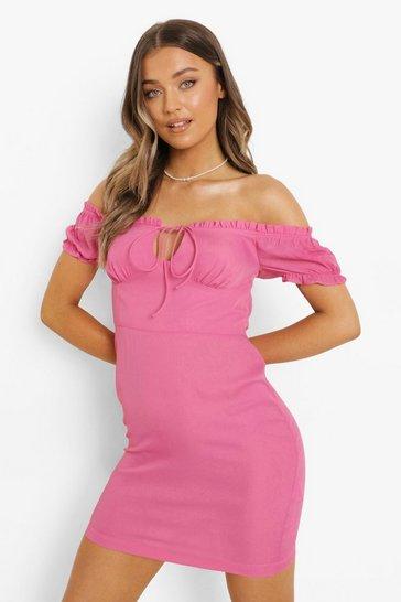 Pink Bardot Tie Front Mini Dress