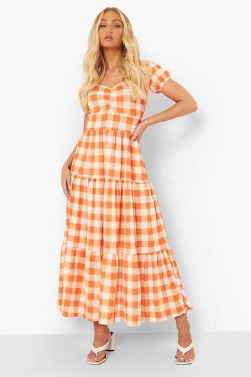 Orange Gingham Print Tie Back Maxi Dress