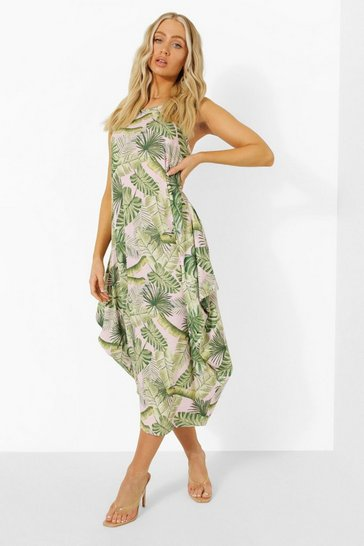Pink Tropical Print Racer Back Ruched Maxi Dress