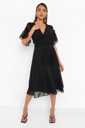 Black Pleated Ruffle Detail Midi Smock Dress