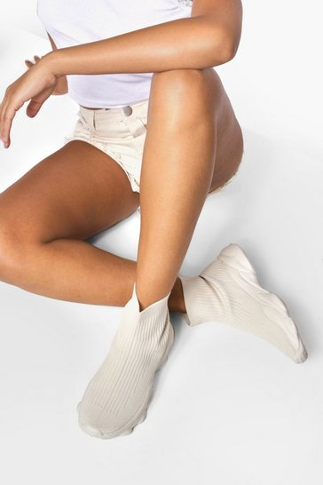 Stone beige Tonal Chunky Sock Trainer
