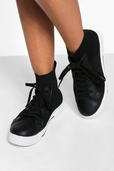 Black Knitted High Top Trainer
