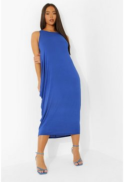 Cobalt Racer Back Ruched Maxi Dress