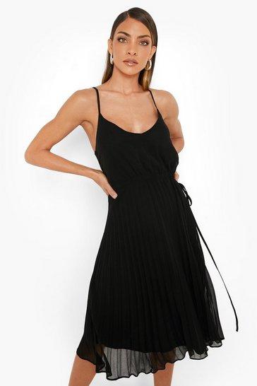 Black Strappy Pleated Midi Skater Dress