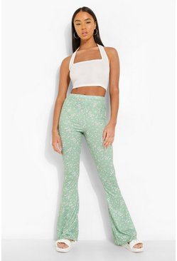 Green Ditsy Floral Flare Trouser