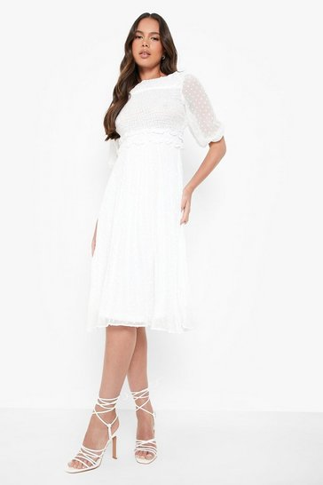 White Dobby Mesh Midi Smock Dress
