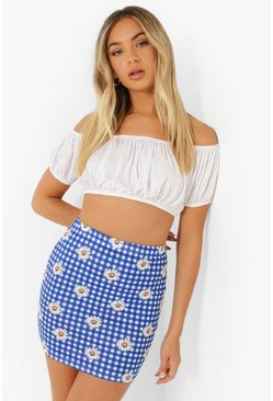 Blue Floral Gingham Mini Skirt