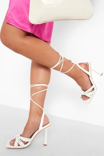 White Lace Up Knot Detail Heel