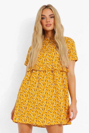 Mustard yellow Ditsy Floral Smock Dress