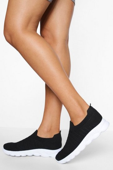 Black Wide Fit Knitted Sock Trainer