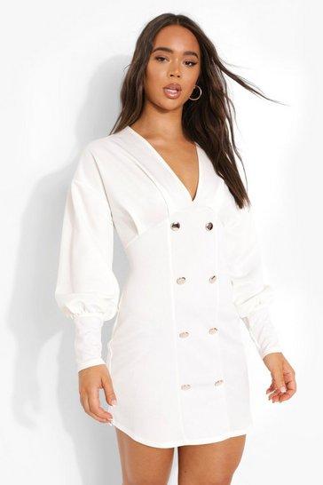 White Puff Sleeve Scuba Blazer Dress