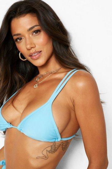Blue Recycled Double Strap Triangle Bikini Top