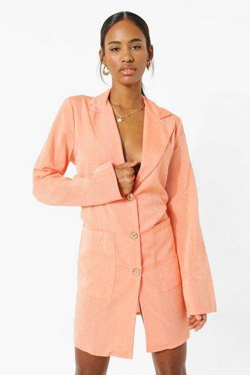 Orange Linen Oversized Blazer Dress