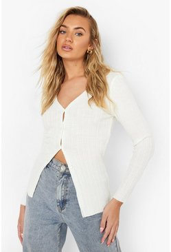 Ivory white Rib Knit Collared Cardigan