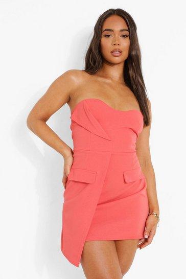 Coral pink Wrap Detail Bandeau Blazer Dress