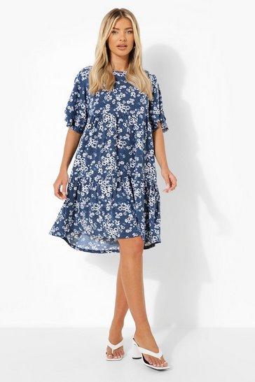 Navy Floral Print Drop Hem Smock Dress