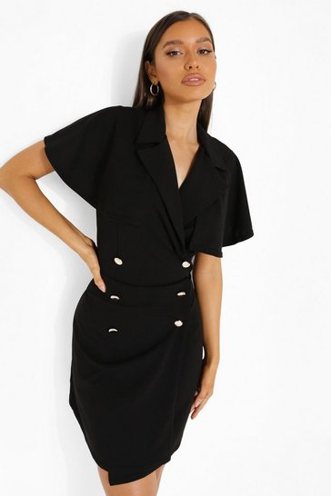 Black Cape Detail Blazer Dress