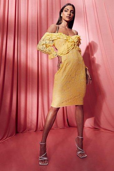 Yellow Lace Ruffle Midi Bridesmaids Dress