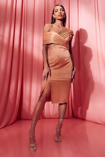 Orange One Shoulder Midi Bridesmaid Dress