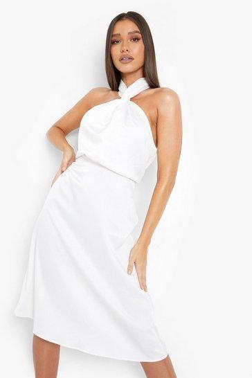 White Satin Halterneck Twist Midi Bridesmaid Dress