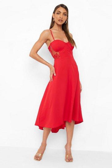 Red Contrast Lace Corset Midi Dress